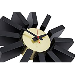 LCH Nelson Block Clock, Handmade Antique Retro Wall Clock, Designed by George Nelson (Black Gold-B)