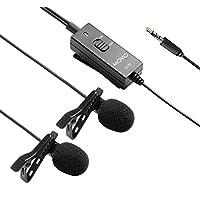 Micrófono de entrevista de condensador omnidireccional omnidireccional con clip de Lavalier, de doble cápsula, movo LV20 para cámaras, videocámaras y grabadores (conector TRS de 3,5 mm)