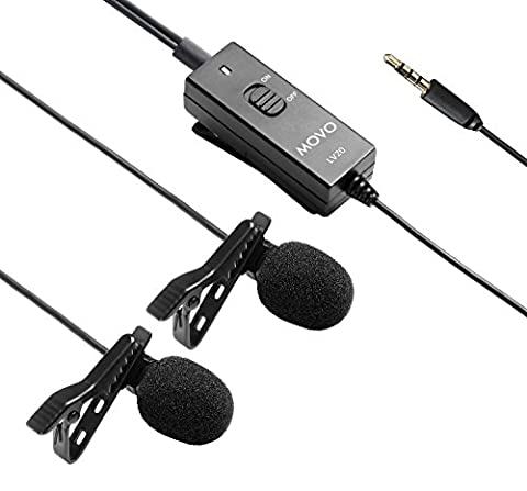 Movo LV20 Dual Capsule Battery-Powered Lavalier Clip-on Omnidirectional Condenser Interview Microphone for Cameras, Camcorders and (Doppia Frequenza Trasduttore)