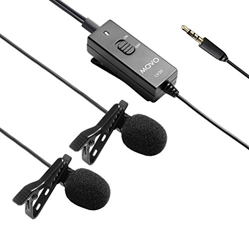 Movo LV20 Dual Capsule Battery-Powered Lavalier Clip-on Omnidirectional Condenser Interview Microphone for Cameras, Camcorders and Recorders (TRS 3.5mm - Capsule Lavalier
