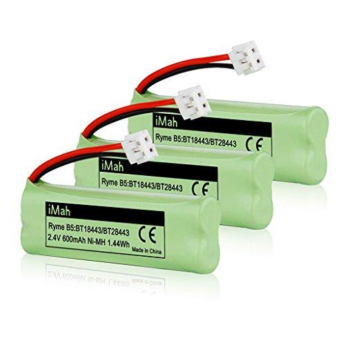 iMah BT18443 BT28443 Phone Battery Compatible with VTech LS6115 LS6117 LS6125 LS6126 LS6225 BT18443/BT28443 89-1337-00-00 Wireless Home Handset Telephone, Pack of 3