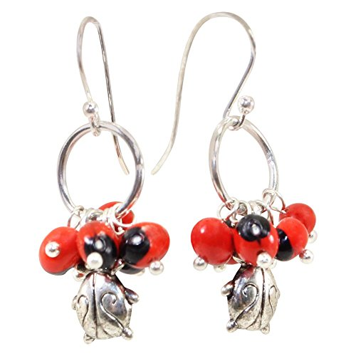 Peru Ladybug Gift Dangle Earrings for Women - Huayruro Red Black Seed - Handmade Ecofriendly Jewelry by Evelyn Brooks