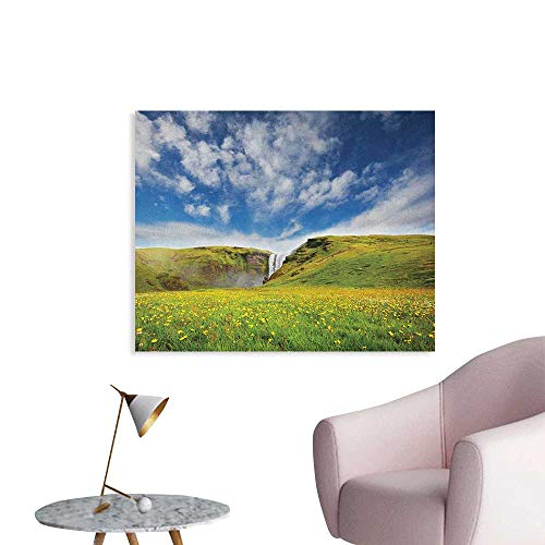 Anzhutwelve Waterfall Photographic Wallpaper Waterfall Cascade Landscape with Daisies in The Meadow Nature Themed Print Art Poster Green Blue White W48 xL32