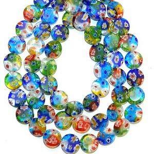 Millefiori Glass Beaded Bracelet - Steven_store G3570 Mosaic Multi-Color Flower 12mm Flat Round Millefiori Glass Bead 13