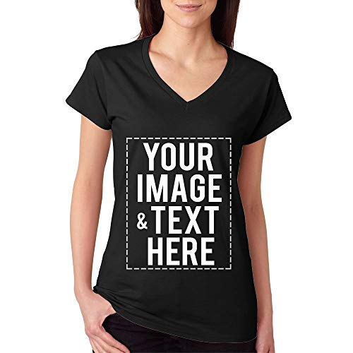 - Custom Printed V Neck T-Shirt For Women Personalized Design Your Own (XL, black)