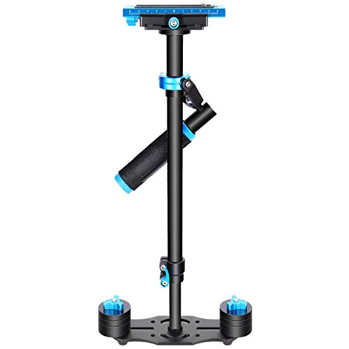 Neewer Aluminium Alloy 24 inches/60 centimeters Handheld Stabilizer with 1/4 3/8 inch Screw Quick Shoe Plate for Canon Nikon Sony Other DSLR Camera Video DV up to 6.6 pounds/3 kilograms(Black+Blue) by Neewer
