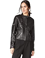 Escalier Womens Lambskin Leather Jacket Zipper Short Moto Biker Coat