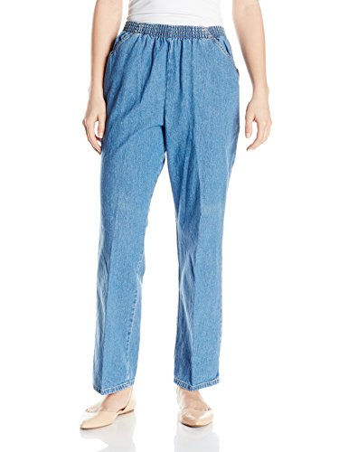 Chic Classic Collection Women's Petite Cotton Pull-On Pant with Elastic Waist, Destruction Blue Denim, 12P ()