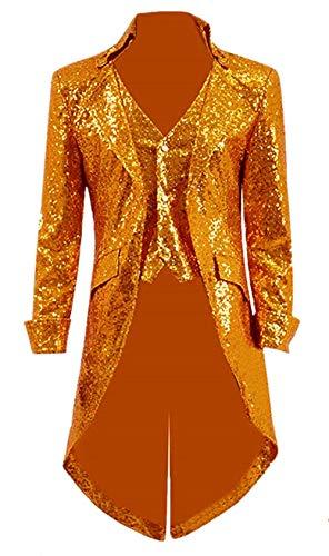 Suxiaoxi Men's Vintage Sequins Gothic Tailcoat Jacket Steampunk Halloween Costume Orange