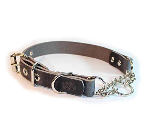 sleepy pup Adjustable Leather Martingale Chain, Limited Slip, Half-Check Chain, Training Dog Collar - Made in The USA (M/L: 16