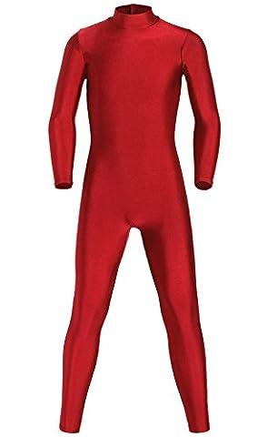 JustinCostume Kids Spandex Turtleneck Full Body Unitard Costume, 14, Red Wine - Lycra Turtleneck Dress