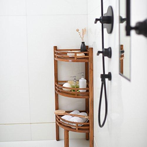-250376T Teak Spa/Shower Corner Shelf, Natural ()