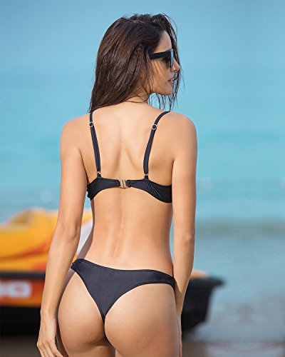 Funnygirl Womens Sexy Solid Bikini Set Swimwear Brazilian Padded Top High Cut Triangle Bottom 2 Pieces Swimsuit Black Small by Funnygirl (Image #5)