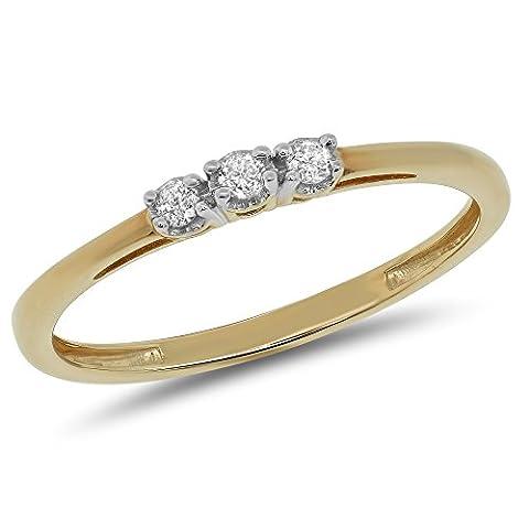 0.06 Carat (ctw) 10k Gold Round Cut Diamond Ladies 3 Three Stone Petite Engagement Promise Ring 1/20 CT - Yellow-gold, Size - Cut Halo Petite Diamond