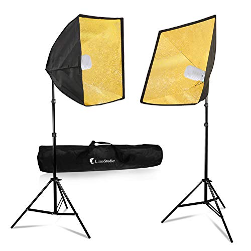 ((40% Gold Softbox Lighting Kit with Light Stand Tripod, 24 x 24 inch Single Socket Softbox Reflector, and 85W Fluorescent Light Bulb-Pure White, TEMAGG2836)