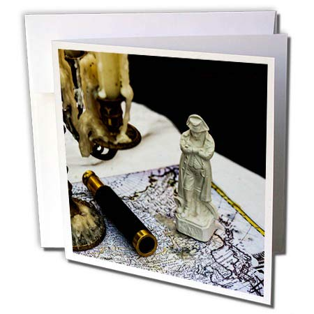 - 3dRose Alexis Photography - Still-Life - Vintage Napoleon Figurine, Spyglass, Candlestick, map. Past glories - 6 Greeting Cards with envelopes (gc_304790_1)