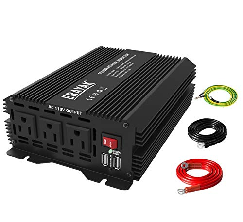 ERAYAK 1000W Car Power Inverter 12V to 110V Inverter DC to AC Converter with 3 AC Outlets and Dual USB Ports,TUV Certified