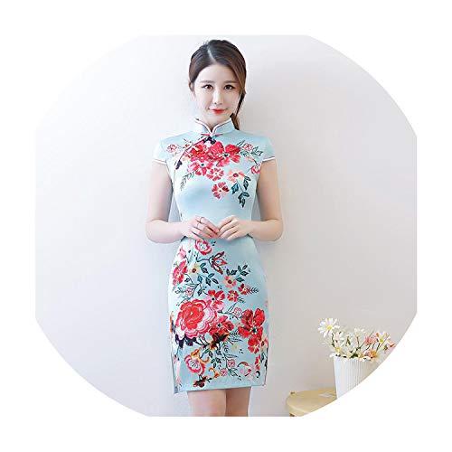 Women Elegant Office Business Dress Traditional Mandarin Collar Qipao Vintage Print Flower Cheongsam Vestidos,Style G,XL