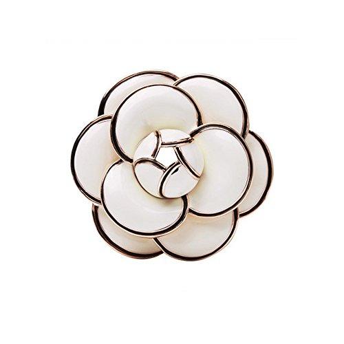 Floral Pendant Clip Earrings - MISASHA Classic Elegant White Camellia Enamel Brooch pin