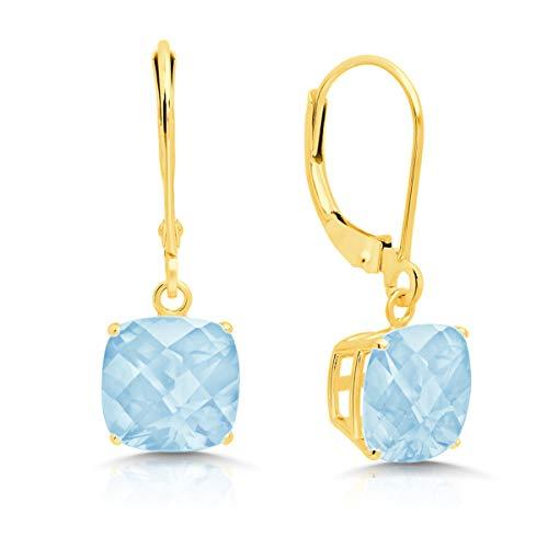 14k Yellow Gold Aquamarine Dangle Leverback Earrings (8mm) (Aquamarine Earrings 14k)
