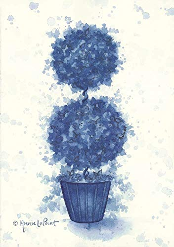 Sphere Double Topiary - Blue Double Sphere Topiary by Annie Lapoint Art Print, 12 x 17 inches
