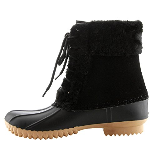 CAPE ROBBIN FE94 Womens Two Tone Lace Up Waterproof Duck Ankle Booties Black iLHgyA