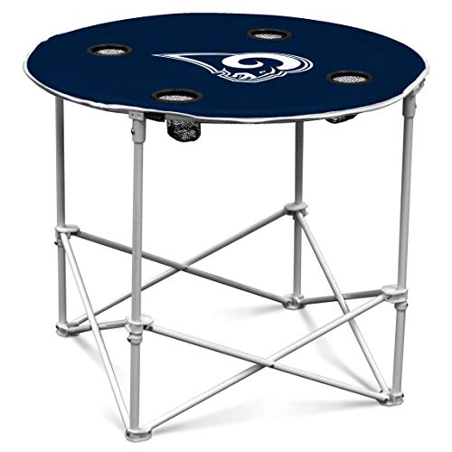 (St Louis Rams  Collapsible Round Table with 4 Cup Holders and Carry Bag)