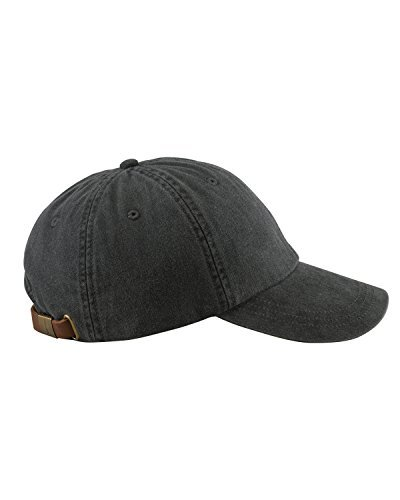 Adams 6-Panel Low-Profile Washed Pigment-Dyed Cap (AD969) Black, OS (Cap Classic Canvas)