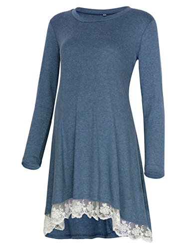 Women's Long Sleeve Lace Hem Maternity Tunic Top Blouse