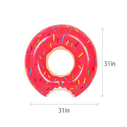 [Spring Summer New Float 80Cm Inflatable Adult Swim Ring Thickened Strawberry Donuts Chocolate Flotador Donut Lifebuoys,For Unisex Kids And Adults(M)] (Blow Up Costumes From The 80's)