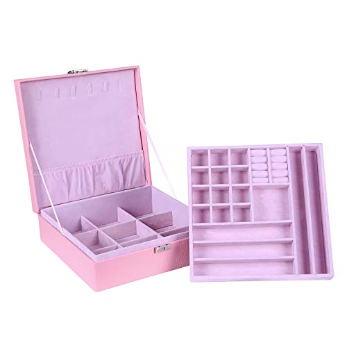 (Jewelry Box Two-Layer Pu Leather Jewelry Case Organizer Women Earring Necklace Bracelet Display Storage Box with Lock, Pink)