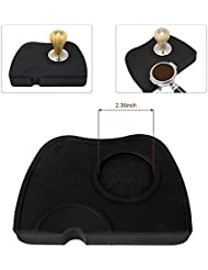 Espresso Tamper Mat, Food Safe Silicone Coffee Tamp Mat Anti-Slip, Corner Tamping Pad Non-Slippery Soft Odorless Holder Pad Black for Barista Tool Home Kitchen Office Bar Shop Worktop by BooTaa