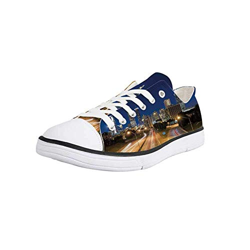 Canvas Sneaker Low Top Shoes,Urban,Image of Atlanta Skyline Twilight with Highway Buildings Skyscrapers Blurred Motion Women 12/Man 9 (Highway Sign Atlanta)