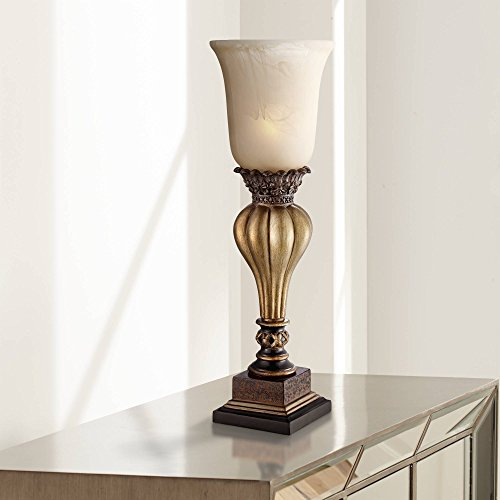 Sattley Gold Finish Console Lamp with Alabaster Glass - Regency ()