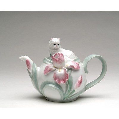 Cg PC48209 7.25 Inch Tea Pot with Lounging Cat and Flowers