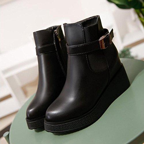 K Ladies Botas de Mujer Aumentando youth® Botines Ankle para Negro Boots Altura Zapatos Plataformas TEpwZ