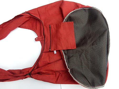de a Thaishop único color Hecho Bolsa mano Ariyas borgoña algodón diaria de wdxvqI1U
