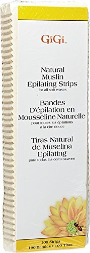 GiGi Natural Muslin Epilating Strips Large for All Soft Waxes 100 ea (Pack of 10)
