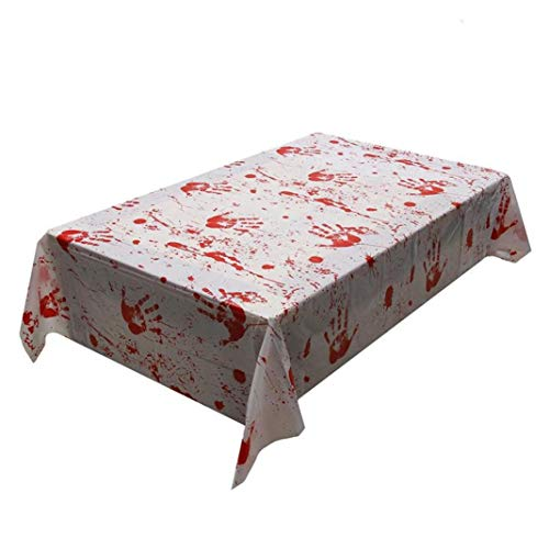 Sunshinehomely Halloween Decoration, Horror Blood Handprint Bloody Aprons Halloween Props Haunted House Costume Bloodstain Tablecloth (Tablecloth)