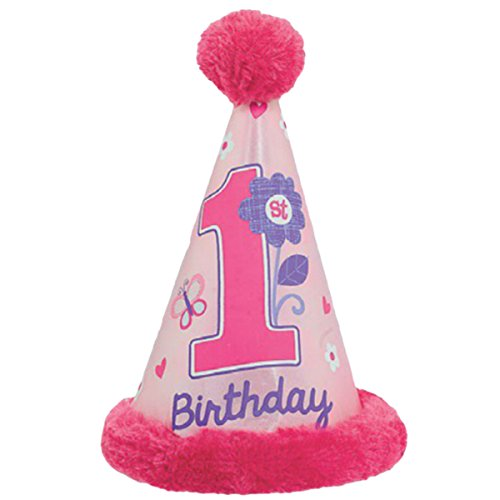 Flowers and Butterflies Girl's 1st Birthday Party Cone Hat w/Faux Fur Trim, Paper, 6.3