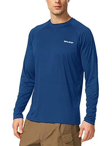 BALEAF Men's UPF 50+ Outdoor Running Long Sleeve T-Shirt Ocean Blue Size M