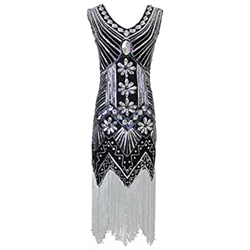 Vijiv Women 1920s Gastby Sequin Art Nouveau Embellished Fringed Cocktail Dresses, Black, XL