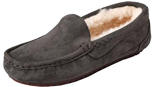 U-lite Womens Slipper In Lana Pelliccia Casual Flat Indoor & Outdoor Mocassino Slip-on, Ciabatte Da Mocassino Da Taglio Per Donna Grigio (pelle Scamosciata Di Vacchetta)