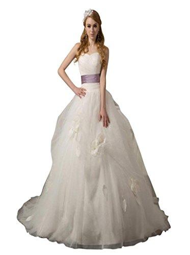 Blumen Schleppe Weiß Ausschnitt Tüll Drapiert Damen Herz Handgemachte Ballkleid Mit Kleidungen Hof Dearta q4xfUwC