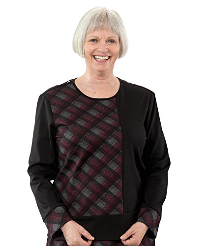 Adaptive Clothing Disabled - Womens Fashion Adaptive Top - Disabled Adults - Wrap Back - Burgundy LGE