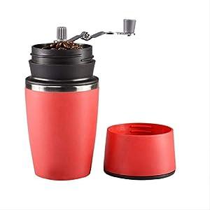 SFBBAO Macina Caffe Grinder Portatile Manuale da caffè con Tazza Singola Regolabile in Ceramica, 23cm Rosso