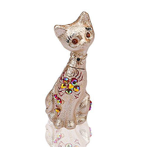 YUFENG Cat Pewter Figurine Collectible Box Decor With Crystals, Trinket Box, Pill Box, Kitten Box Gift For Family