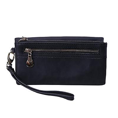 HDE Women's Leather Wallet Clutch Multi-Function Zippered Wristlet Purse