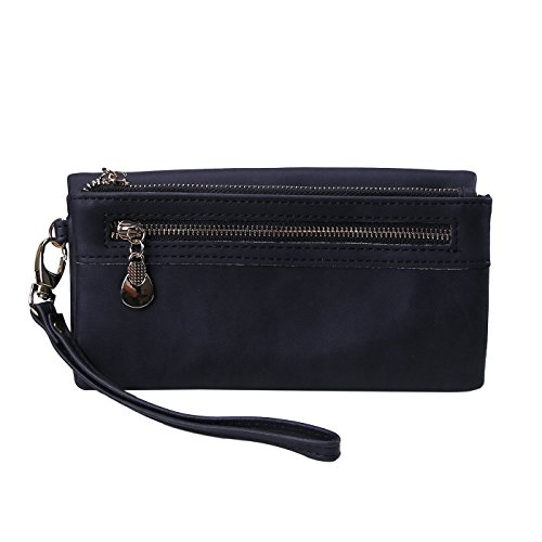 HDE Women's Leather Wallet Clutch Multi-Function Zippered Wristlet Purse Black