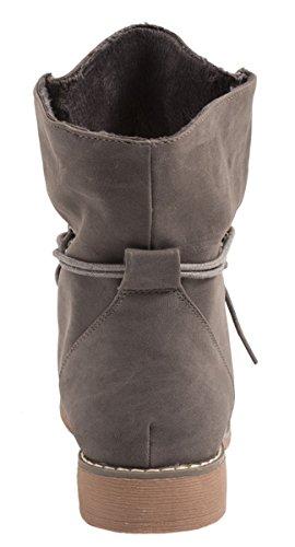 Elara Damen Stiefelette | Biker Boots | Trendy Lederoptik | Chunkyrayan Grau